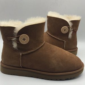 UGG Mini Bailey Button Chestnut Suede Ankle Boots